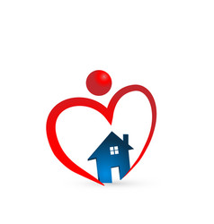Heart house person holding home icon vector