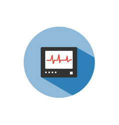 heart rate monitor color icon with shadow on a vector image