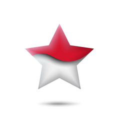 Indonesia flag icon in shape star waving vector