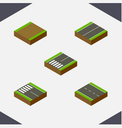 isometric road set of single-lane plane footpath vector image