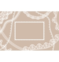 Lace ribbons card vector