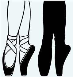Legs and shoes of a young ballerina vector