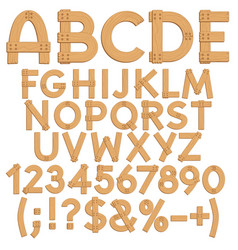 letters numbers signs from wooden boards vector image