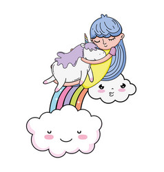 little girl with unicorn and rainbow kawaii vector image