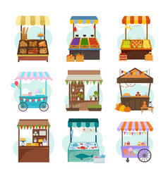 local markets with different food flat vector image