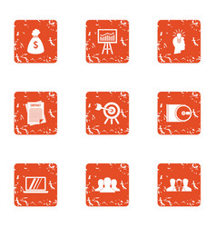 Loot icons set grunge style vector