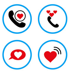 Love heart message rounded icons vector