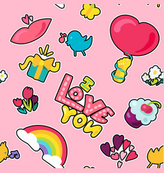 love seamless color pattern vector image