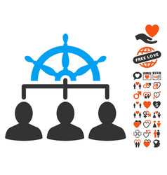 Management steering wheel icon with valentine vector