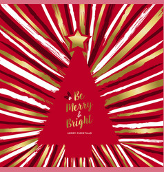 merry christmas gold hand drawn tree greeting card vector image