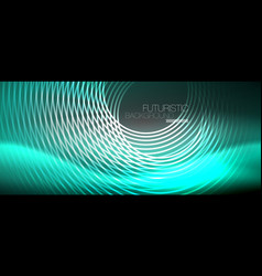 Neon circles abstract background shiny lines vector