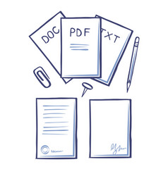 office papers and pages with signature vector image