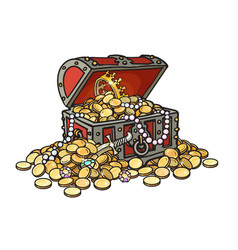 old wooden chest full of golden coins and jewelry vector image