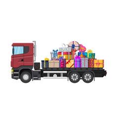 Pile of gift boxes on truck vector