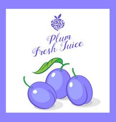 Plum juice sticker vector