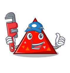 Plumber triangel mascot cartoon style vector