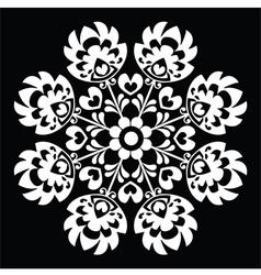 Polish round white folk art pattern vector