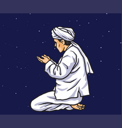 praying in ramadan kareem with stars light vector image
