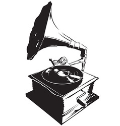 Record player vintage vector image