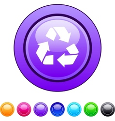 recycling circle button vector image