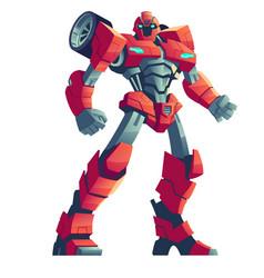 Red robot transformer and car cartoon vector