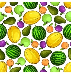 Ripe fruits colorful seamless pattern vector image