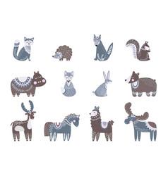 scandinavian characters kids animals nordic wolf vector image