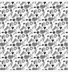 Seamless barbeque pattern in with meat vector