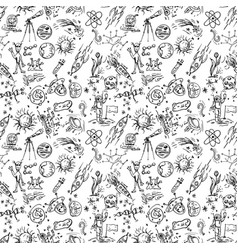 Seamless pattern of childrens contour drawings on vector