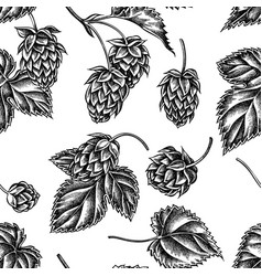 seamless pattern with black and white hop vector image
