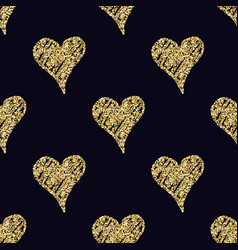 seamless pattern with hand drawn golden hearts vector image