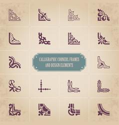 set calligraphic decorative corners vector image