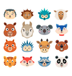 Set of cartoon cute baby animal faces isolated vector