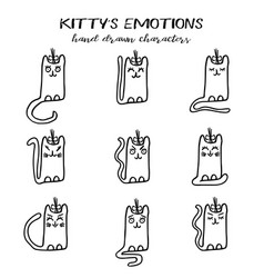 Set of kitty emotions in hand drawn style vector