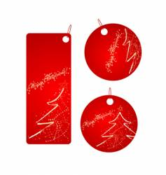 Set of red Christmas badges vector
