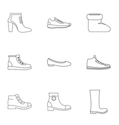 shoe collection icons set outline style vector image