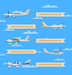 Small propeller airplanes with banners in sky vector