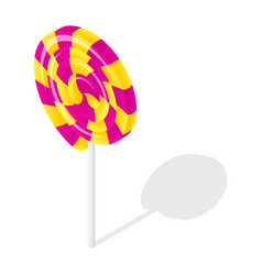 swirl candy stick icon isometric style vector image