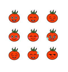 tomatoes emojicons set with isolated white vector image