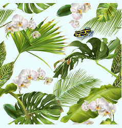 Tropical orchid frog pattern vector