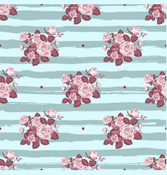 Vintage roses pattern hand-drawn monochrome roses vector