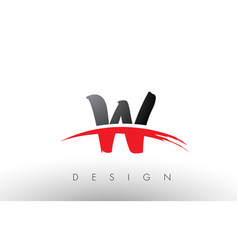 W brush logo letters with red and black swoosh vector