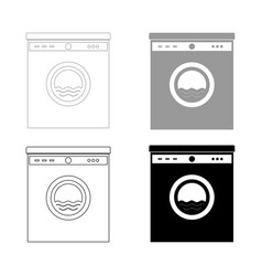 washing machine the black and grey color set icon vector image
