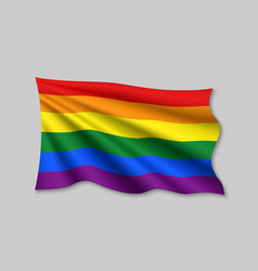 Waving ribbon or banner with flag lgbt pride vector