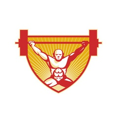 Weightlifter Lifting Barbell Weights Retro vector image