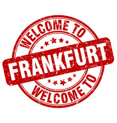 Welcome to frankfurt red round vintage stamp vector