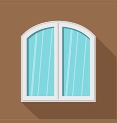 White window arched frame icon flat style vector