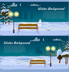 winter background set two pictures benches vector image