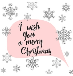 Winter calligraphy I wish You a merry Christmas vector image