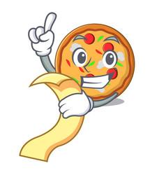 with menu pizza mascot cartoon style vector image
